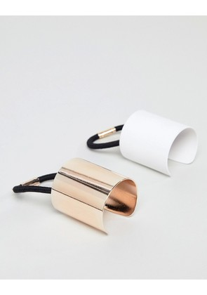 ASOS DESIGN pack of 2 sleek hair cuffs in rose gold and white - Multi