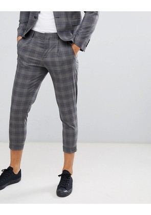 Jack & Jones Premium Suit Trouser In Tapered Fit Grey Check With Cropped Ankle - Grey melange