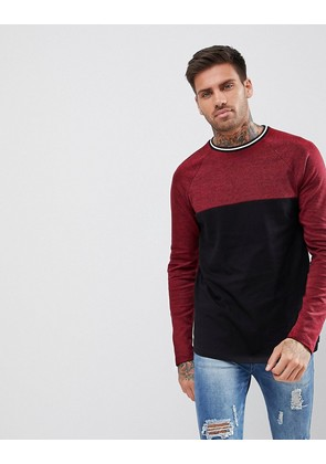 ASOS Longline Long Sleeve T-Shirt With Colour Block In Interest Fabric - Rosewood / black