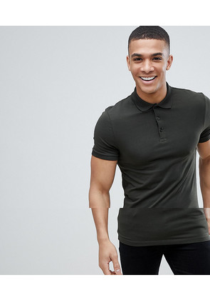 ASOS DESIGN jersey muscle fit polo in green - Field green