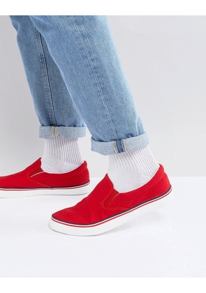 Brave Soul Retro Slip On Plimsolls - Red