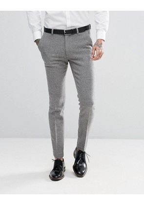 ASOS DESIGN wedding super skinny suit trousers in grey houndstooth - Grey