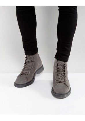 ASOS Lace Up Boots In Grey Suede With Ribbed Sole - Grey