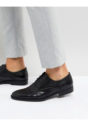 ASOS Brogue Shoes In Black Faux Leather With Layered Paneling - Black
