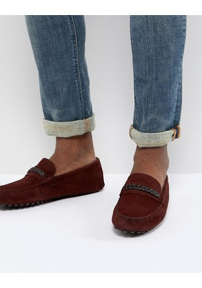 ASOS DESIGN Driving Shoes In Burgundy Suede With Plait Detail - Burgundy