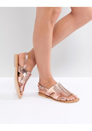 ASOS FRICTION Leather Flat Sandals - Rose gold