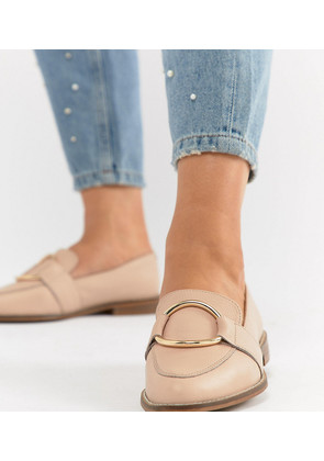 ASOS DESIGN Magenta Wide Fit Leather Loafers - Warm beige