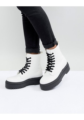 ASOS DESIGN Attitude Chunky Lace Up Boots - White