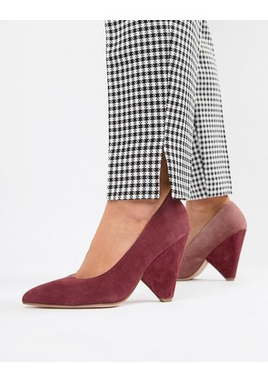 ASOS DESIGN Potion premium leather high heels - Burgundy suede/pink