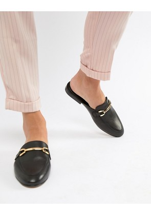 ASOS DESIGN Moves leather mule loafers - Black