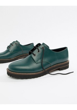 ASOS DESIGN Mystify leather lace up flat shoes - Forest green