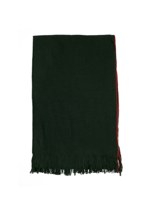 Red Stitching Green Wool Scarf
