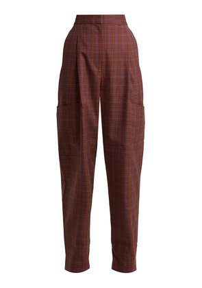 Checked twill tapered trousers