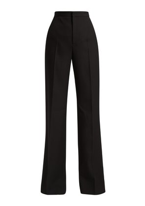 High-waisted pleated flared wool trousers