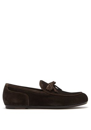 Striped suede loafers