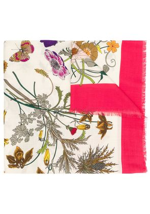 Gucci floral printed scarf - White