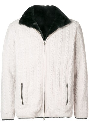 N.Peal fur lined cable cardigan - Grey
