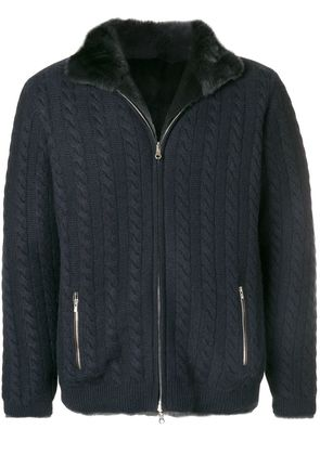 N.Peal fur lined cable cardigan - Blue