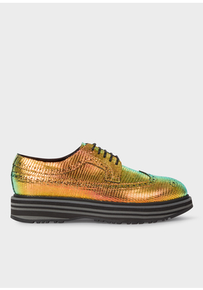 Women's Iridescent Leather 'Grand' Brogues With Striped Soles