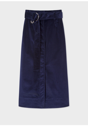 Women's Indigo Corduroy A-Line Midi Skirt With Belt