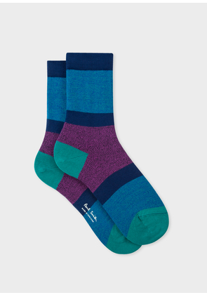 Women's Blue Flecked-Stripe Socks