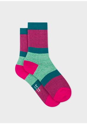 Women's Pink Flecked-Stripe Socks