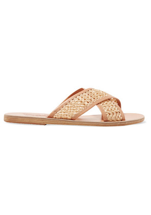 Ancient Greek Sandals - Thais Woven Raffia And Leather Slides - Neutral
