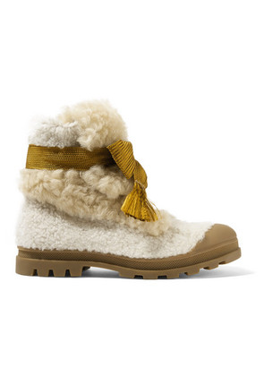 Chloé - Parker Shearling Ankle Boots - Off-white