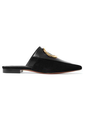 Neous - Embellished Leather And Suede Slippers - Black