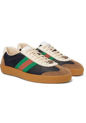 Jbg Webbing-trimmed Leather And Suede Sneakers