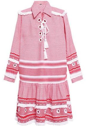 Dodo Bar Or Woman Fringed Embellished Cotton-jacquard Dress Red Size M