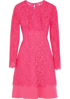 Mikael Aghal Woman Layered Corded Lace And Cady Dress Fuchsia Size 4