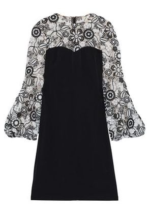 Mikael Aghal Woman Guipure Lace-paneled Crepe De Chine Dress Black Size 4