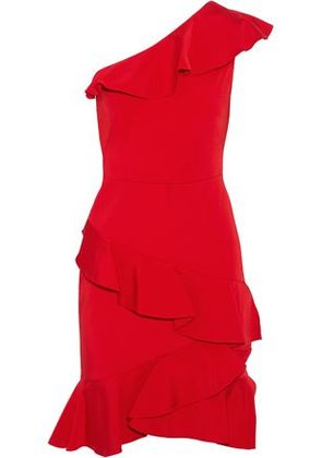 Marchesa Notte Woman One-shoulder Ruffled Satin-twill Dress Red Size 2