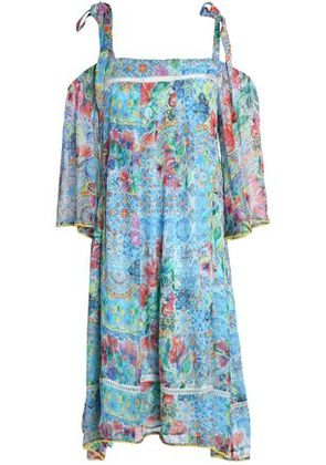 Matthew Williamson Woman Cold-shoulder Printed Silk Dress Blue Size 8