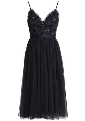 Needle & Thread Woman Bead And Sequin-embellished Pleated Tulle Dress Midnight Blue Size 12