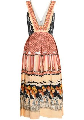 Temperley London Woman Pleated Printed Cotton-blend Dress Orange Size 14