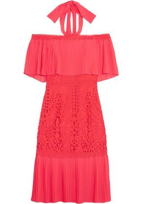 Temperley London Woman Off-the-shoulder Chiffon And Guipure Lace Dress Coral Size 8