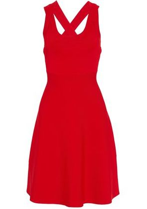 T By Alexander Wang Woman Fluted Ribbed Stretch-knit Dress Red Size XS