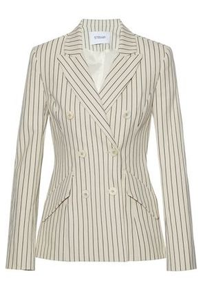 Derek Lam 10 Crosby Woman Double-breasted Pinstriped Cotton-blend Blazer Off-white Size 0