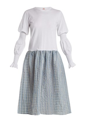 Juniper contrast gingham and cotton-jersey dress