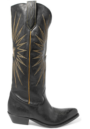 Golden Goose Deluxe Brand - Embroidered Leather Knee Boots - Black