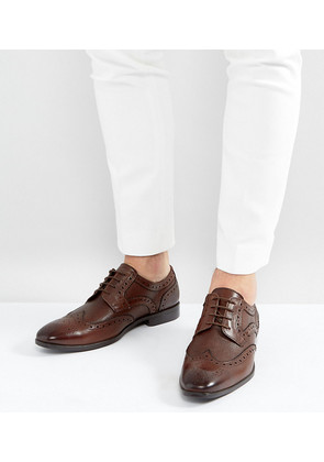 ASOS Wide Fit Derby Brogue Shoes In Brown Leather with Embossed Panels - Brown