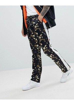 ASOS Straight Sateen Trousers In Japanese Floral Print - Black