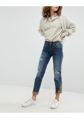 Polo Ralph Lauren Cropped Straight Jeans With Embroidery Hem - Blue