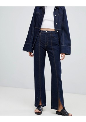 Weekday Limited Collection Mom Jeans With Front Seam And Slit Hem - Rinsed