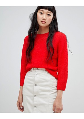 Weekday Boucle Knit Crop Jumper - Red