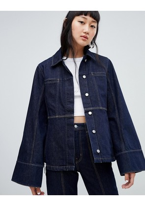 Weekday Limited Collection Seamed Denim Coach Jacket - Rinsed