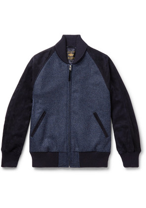 Golden Bear - The Griffith Wool-tweed And Suede Bomber Jacket - Navy