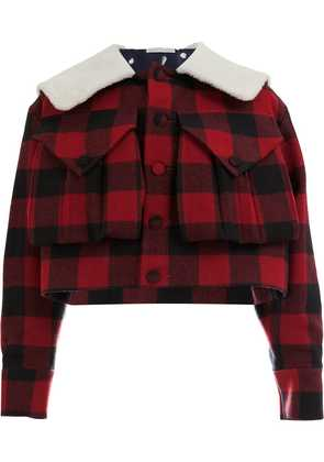 Charles Jeffrey Loverboy oversized collar checked jacket - Red